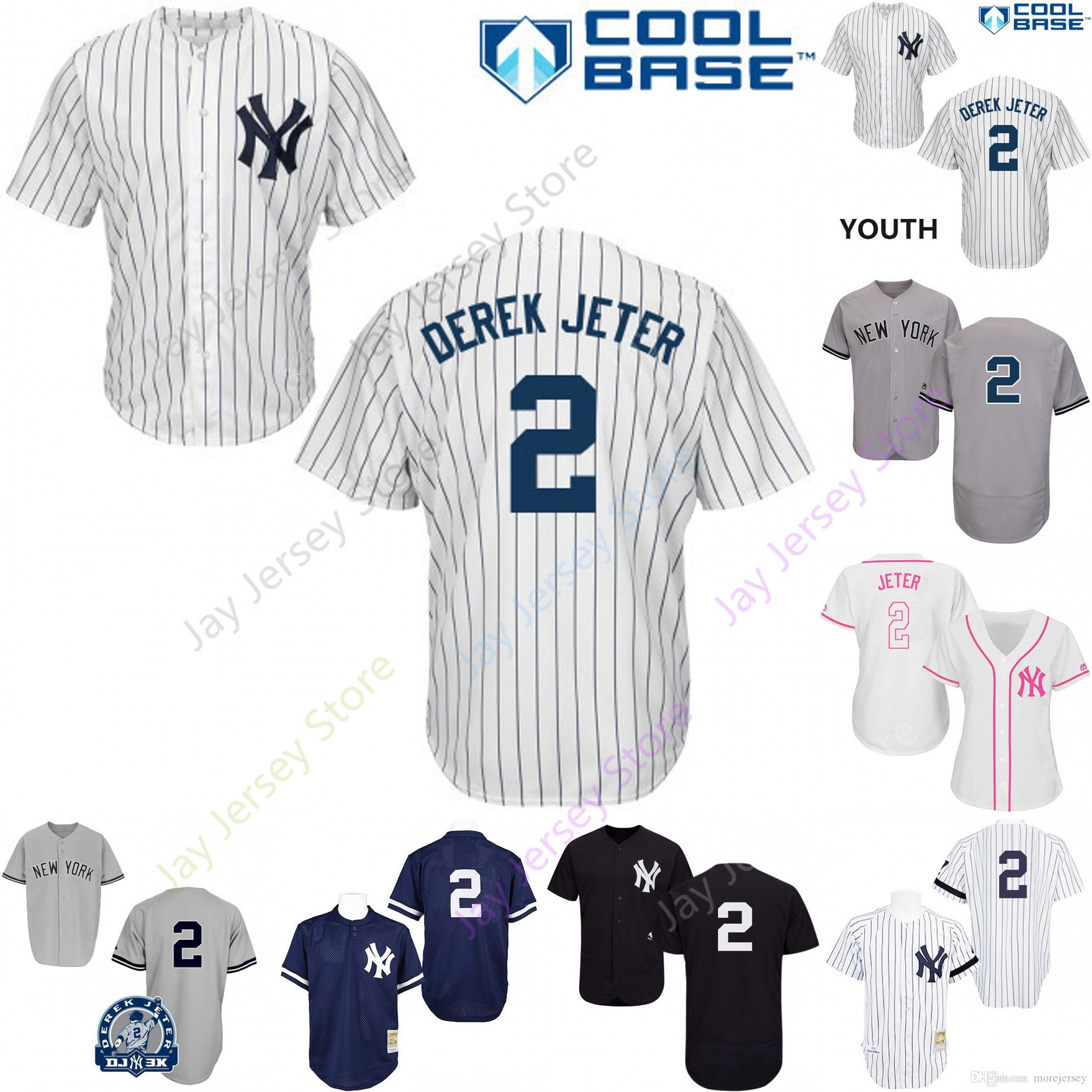 timeless design c4653 3d4ee 2019 New York 2 Derek Jeter Jersey Yankees Jerseys Cool Base Flexbase Home  Away White Black Red Grey Pullover Button Men Women Youth