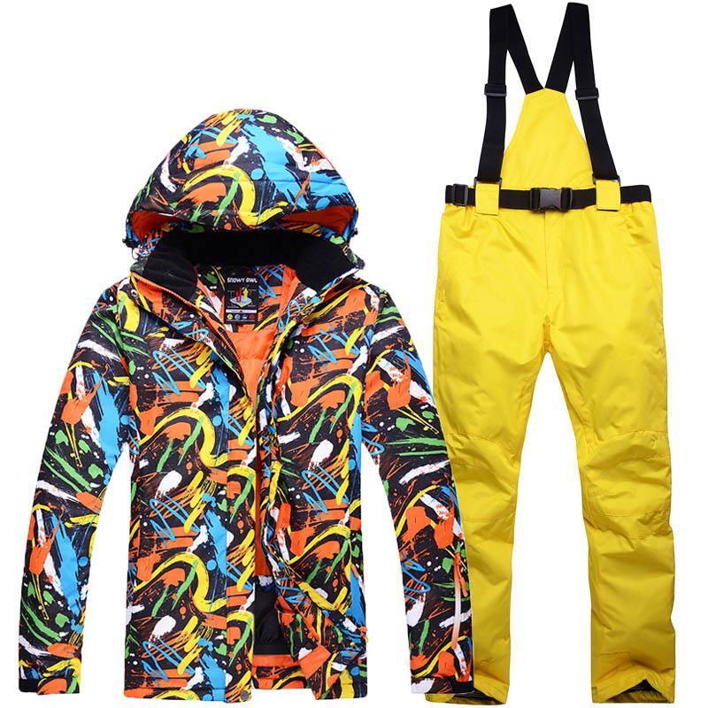 1958097b757fec Nouvelle équipe de ski en plein air pour hommes coupe-vent imperméable à  l'eau thermique Snowboard Snow Hommes veste de ski et pantalon ensembles ...
