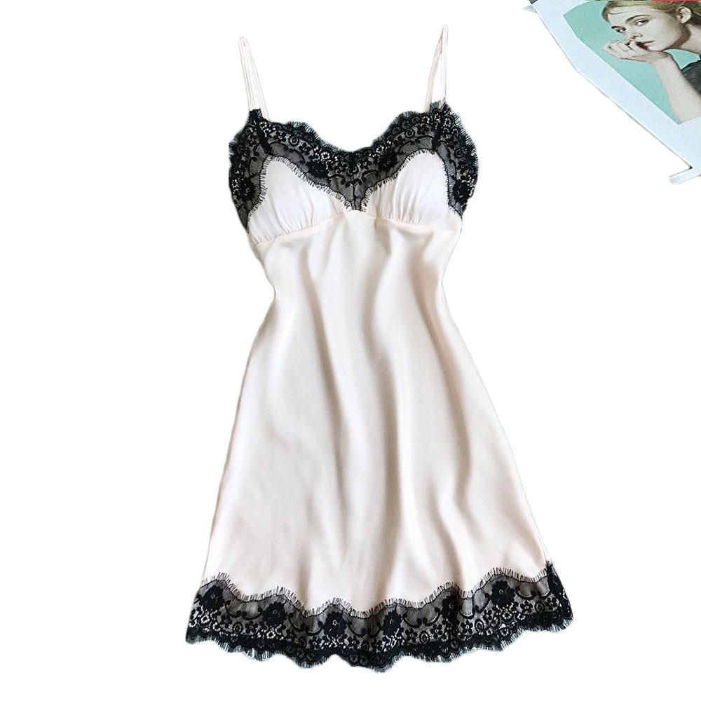 Robe grande taille chemise de nuit chemise de nuit sexy dentelle patchwork Camisola lingerie robe de nuit en soie robe de nuit porter des vêtements de nuit