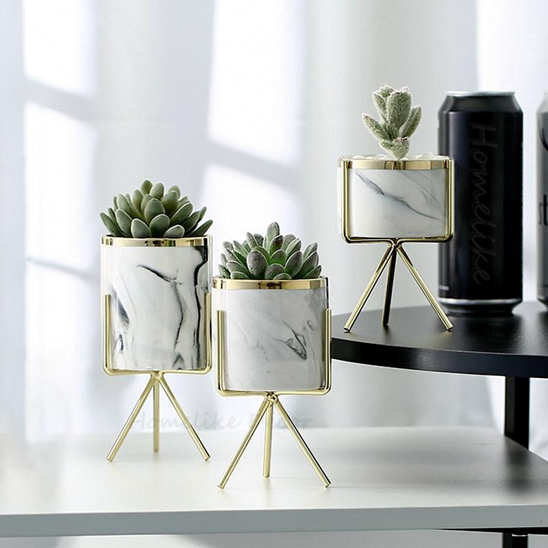 Set of 3pcs Marbling White Ceramic Flower Pots with Iron Stand Desktop Planters Home Garden Decoration with Gold Detailing T191016
