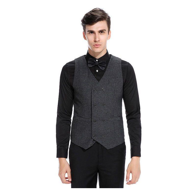Mens Retro Gilet formale Business Suit maglia sottile casuale di nozze Coat supera Khaki Nero