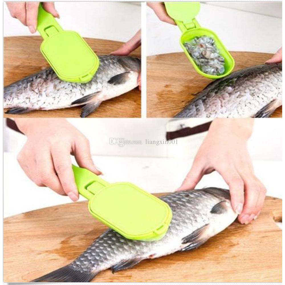 Portable Fish Scales Skin Remover Scaler and Knife Fast Cleaning Fish Skin Steel Plastic Scraper Kitchenware Clean Peeler Tool
