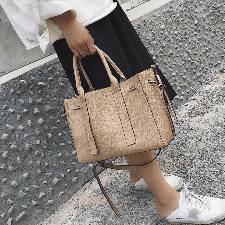 2a59a0ad8da1 Big Capacity Women Handbag 2019 Fashion Letter Women Tote Pu Leather  Females Shoulder Messenger Bag Girls Bucket Bag New