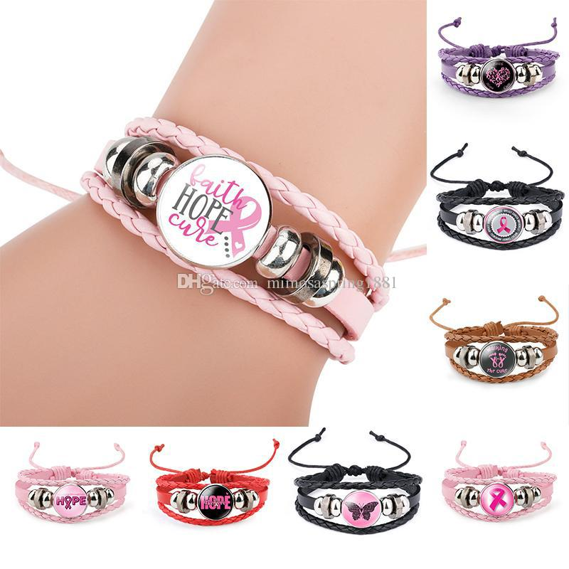 Breast Cancer Awareness Pink Ribbon Charm bracelets For Women Walking The Cure Leather Wrap Bangle Fashion Believe Hope Faith Jewelry