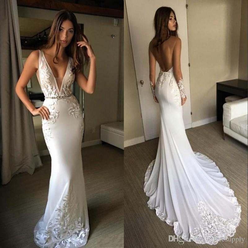 Vintage Mermaid Wedding Dresses with Sash Appliques V Neckline Sleeveless Berta Bridal Gowns Custom Made Backless Beach Wedding Dress