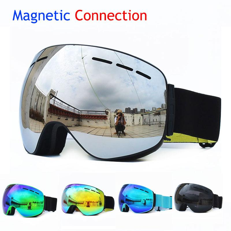Magnetic Detachable Ski Goggles Double Layers Uv400 Anti-fog Windproof Glasses Skiing Skating Snow Snowboard Snowmobile Eyewear Workplace Safety Supplies