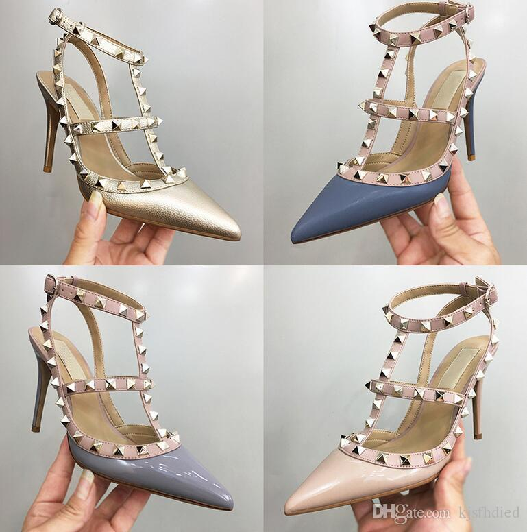 2019 rand v shoes Women Pumps Wedding Shoes Woman High Heels Sandals Ankle Straps Rivets Sexy High Heels Bridal Shoes+logo+ box a+++++