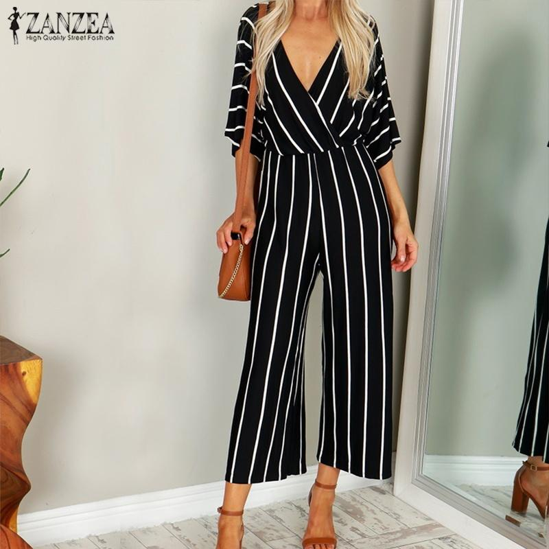 c51dbde84 2019 Fashion Zanzea 2019 Women Jumpsuit Summer Casual Wide Leg Pant V Neck  Short Sleeve Striped Rompers Office Long Playsuit Bodysuit Y19042003 From  ...