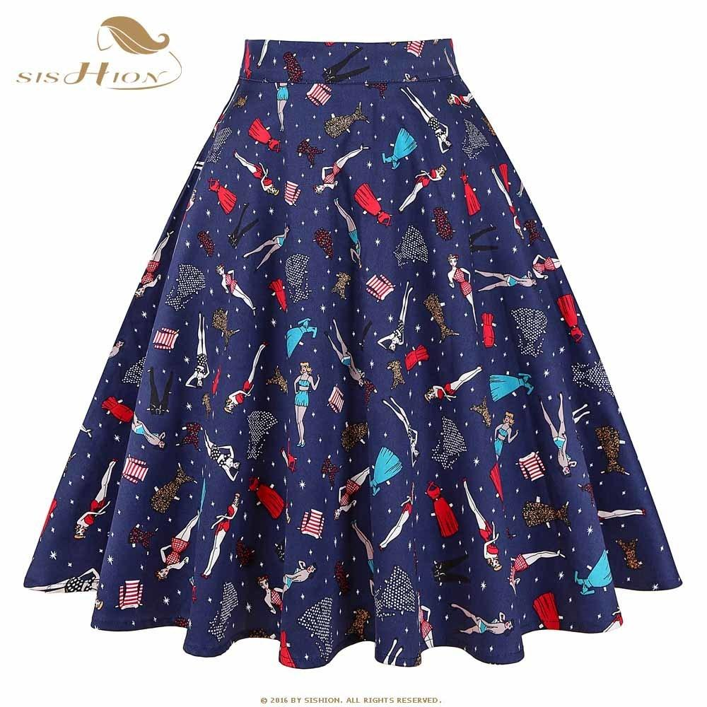 417daa0813386 2019 Sishion Black Skirt Women High Waist Plus Size Floral Print Polka Dot  Ladies Plaid Skater 50s Swing Vintage Skirts Womens C19041601 From Shen06,  ...