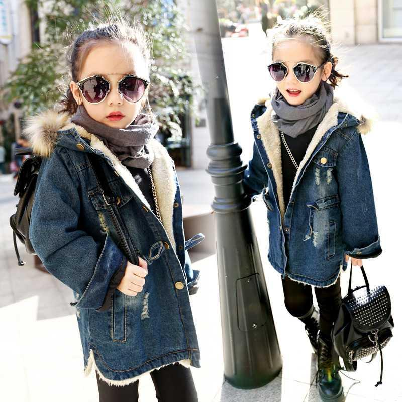 40155bfd7 Fashion Girls Denim Blue Jacket Kids Winter Thick Velvet Jackets ...