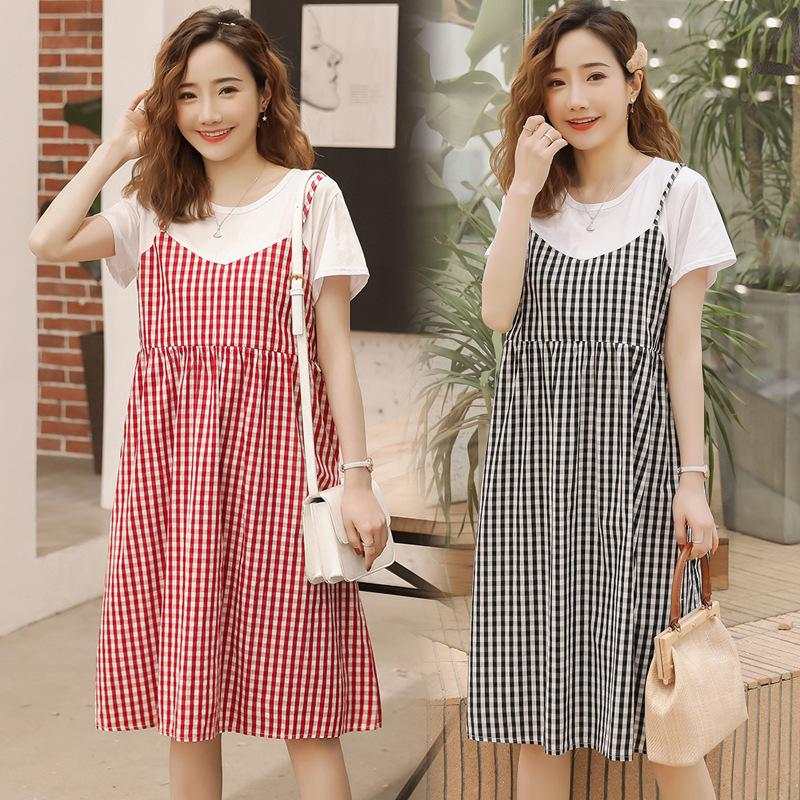5e8d9cd604 2019 Maternity Dresses 2019 Summer New Korean Fashion Fake Two Piece  Pregnant Women Breastfeeding Dress Pregnancy Clothes Vestidos From  Universecp, ...