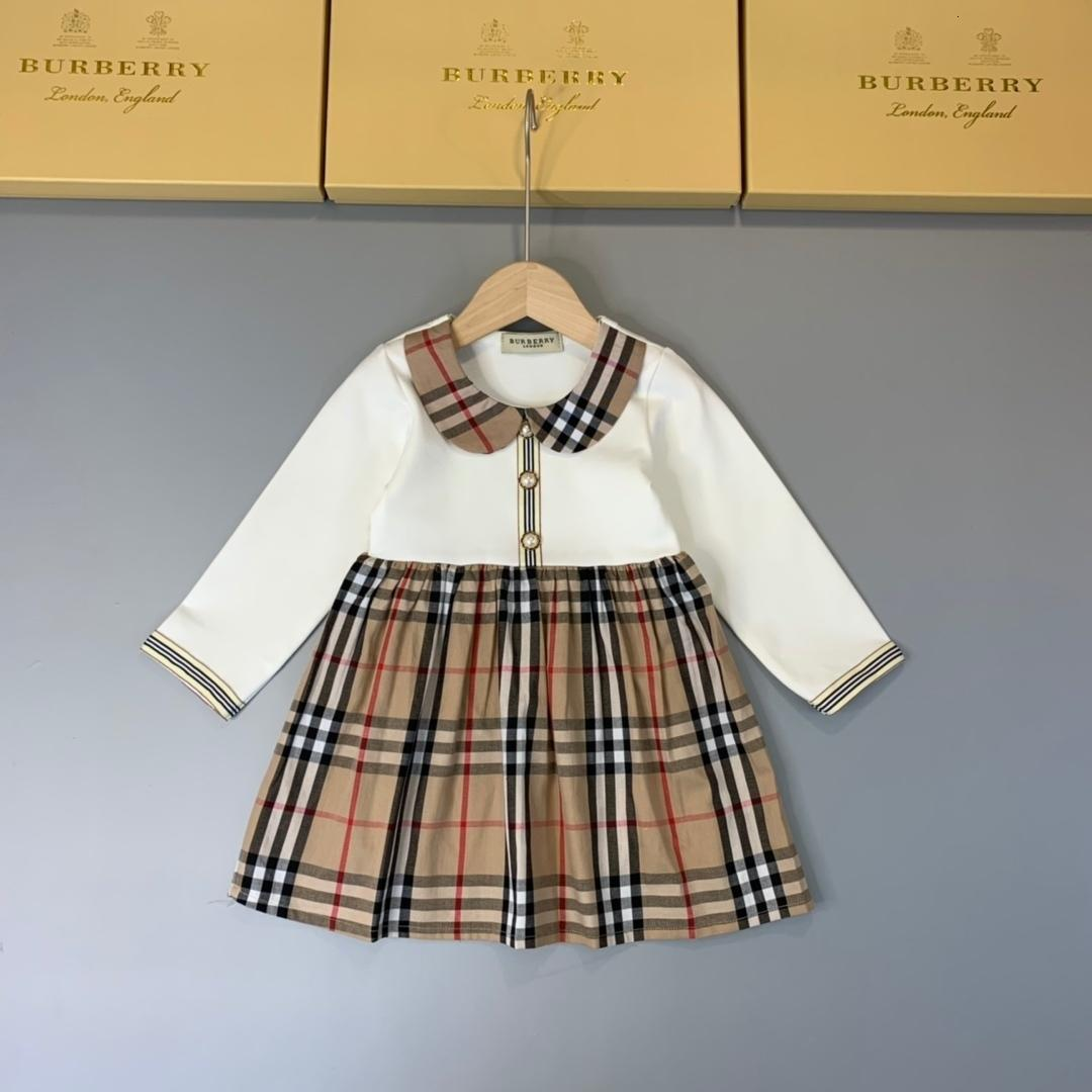de motif robe Babys enfants de style pastoral Jupe Habit Printemps Automne Fonds Lattice pur coton fille robes à manches longues