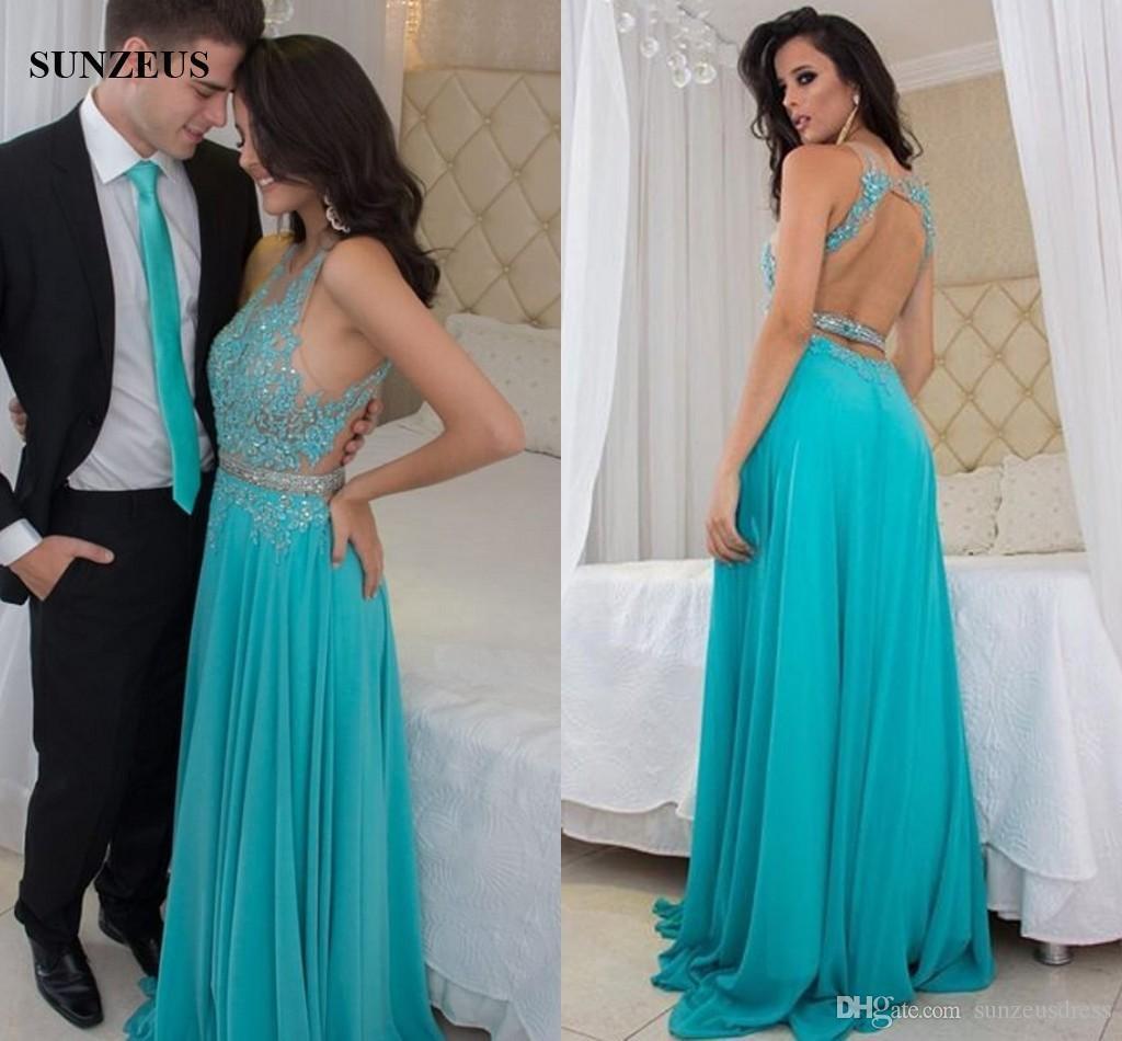 c526a0e06 Compre Apliques Ilusión Blusa Con Cuentas Vestidos De Baile Azul Turquesa  Vestidos De Fiesta Sin Espalda Sexy Mujeres Gasa Vestido Jurk Gala A   152.77 Del ...