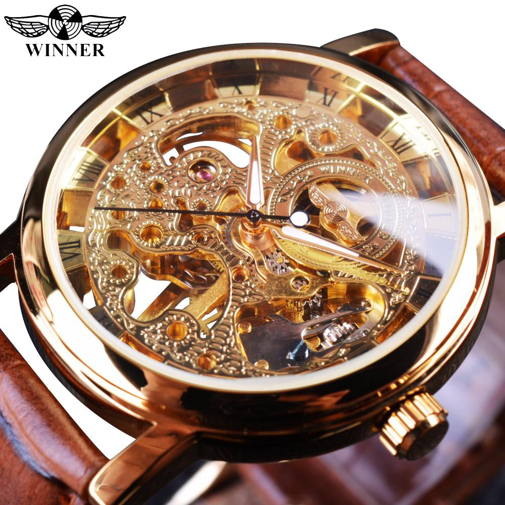 atch top brand Winner Transparent Golden Case Luxury Casual Design Brown Leather Strap Mens Watches Top Brand Luxury Mechanical Skeleton ...