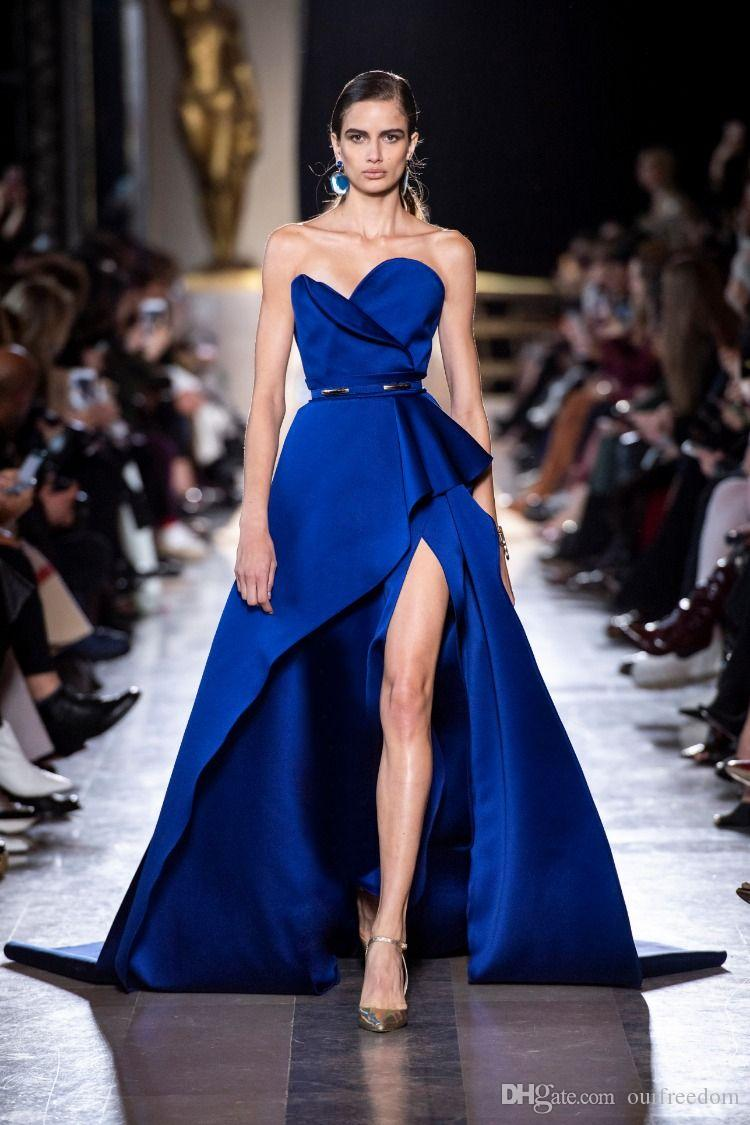 2019 Elie Saab Royal Blue sin tirantes vestidos famosos Celebrity Side Split A Line Sweep Train Formal Ocasión Vestidos de noche por encargo Hot