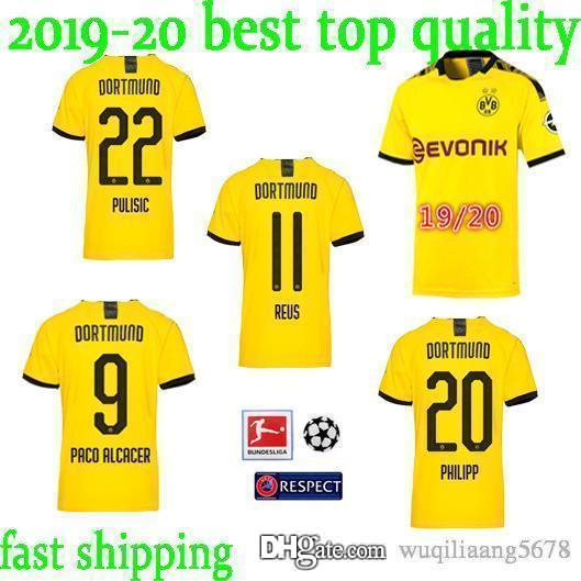 best authentic d1b1c 65ede best quality!19 20 BVB Borussia Dortmund Jersey 2019 2020 Home Soccer  PHILIPP GOTZE REUS PULISIC WITSEL Jersey PACO ALCACER Football shirt