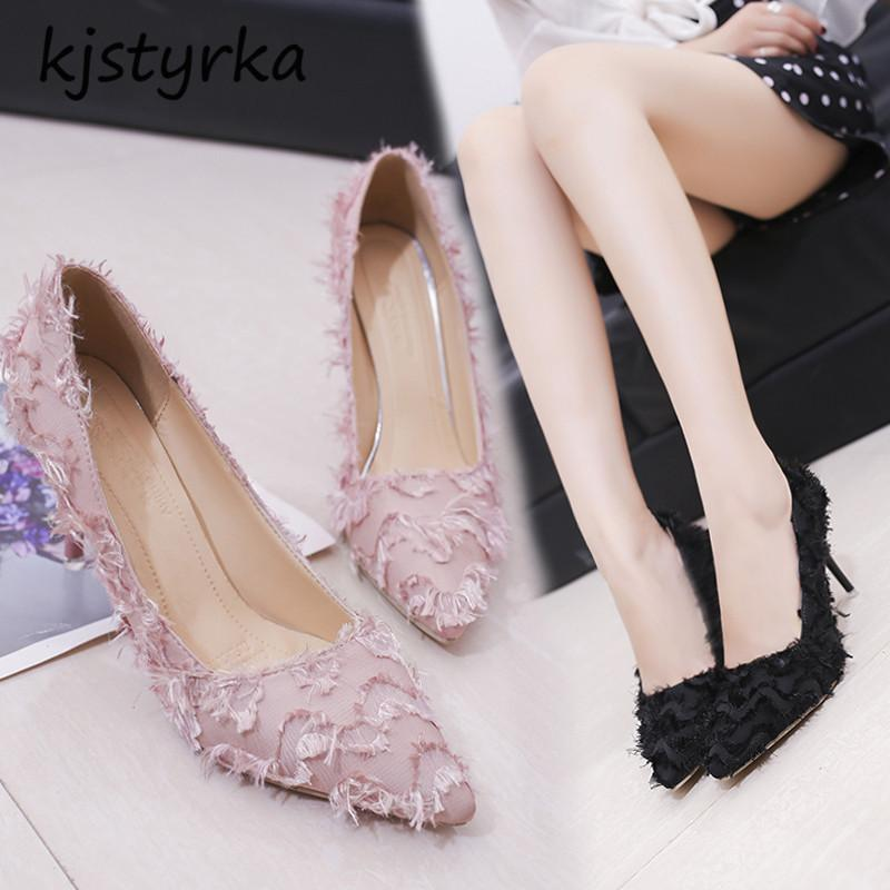 Dress Kjstyrka Brand Design 2019 Fashion Fur Pumps Women Shoes Elegant  8.5cm Thin High Heels Party Ladies Zapatillas Mujer Walking Shoes Flat Shoes  From ... 0313dd87a7cf