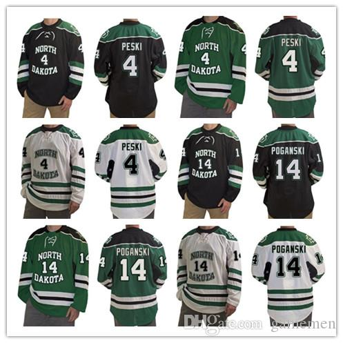 North Dakota Fighting Hawks 4 Andrew Peski 14 Austin Poganski 16 Brock  Boeser Mens Stitched Hockey Jersey White Black Green UK 2019 From Gamemen a6eafc2e8