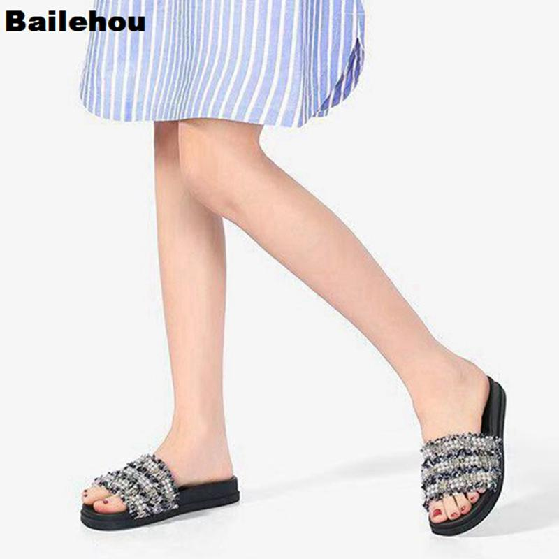 93102ca0d768 New Fashion 2019 Women Summer Slippers Flip Flops Peep Toe Sandals Pearl  Platform Thick Bottom Sandals Beach Slide Zapatos Mujer