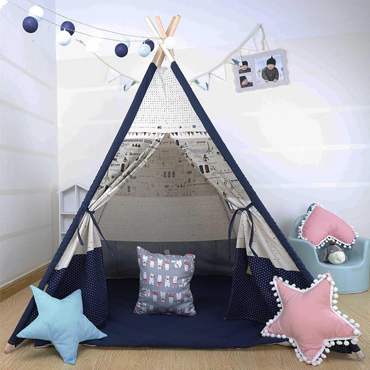 1200x1200x1600mm Große Tipi Zelt Kinder Leinwand Home Pretend Play Outdoor  Indoor Kind Weihnachtsgeschenke