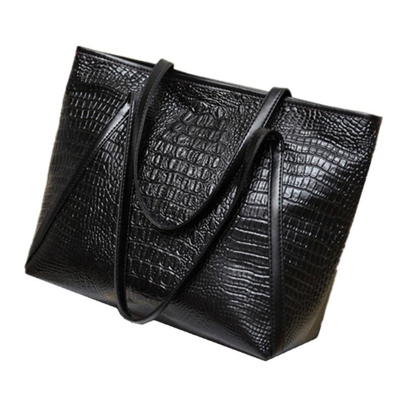 New fashion casual glossy alligator totes large capacity ladies simple shopping handbag PU leather shoulder bags(Black)
