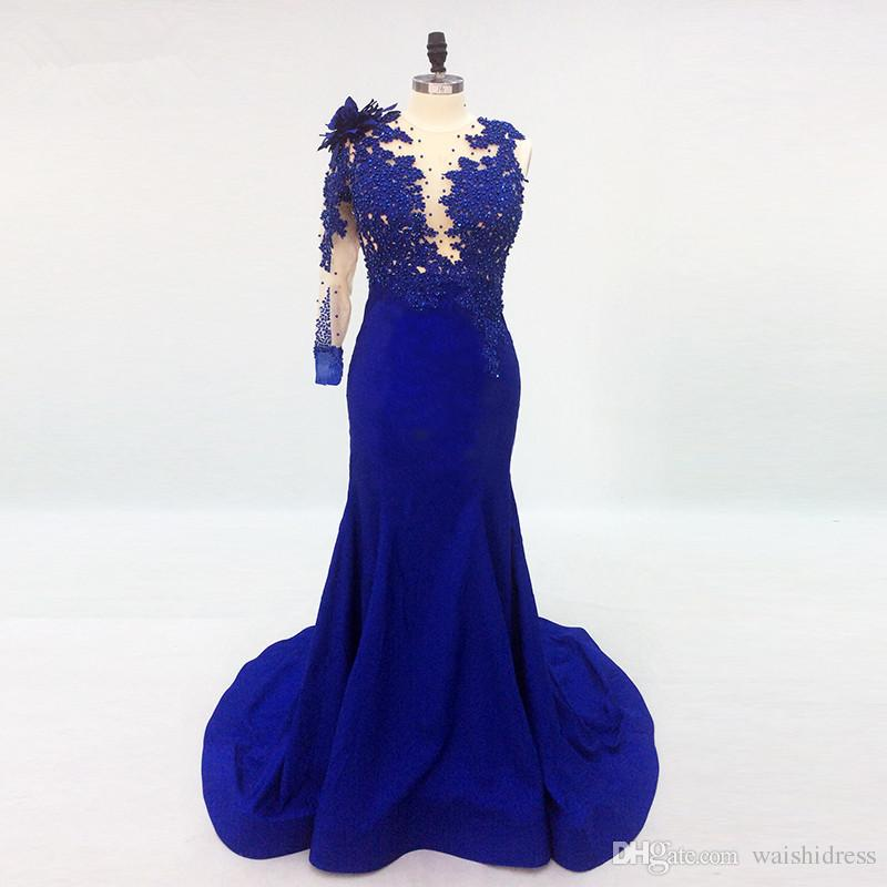 Acquista 2018 Elegante Blue Beads Satin Abiti Da Sera Lunghi Una Manica  Sirena Runway Prom Gown Sweep Personalizzato Treno Formale Party Event Dress  A ... da2f188e0c5