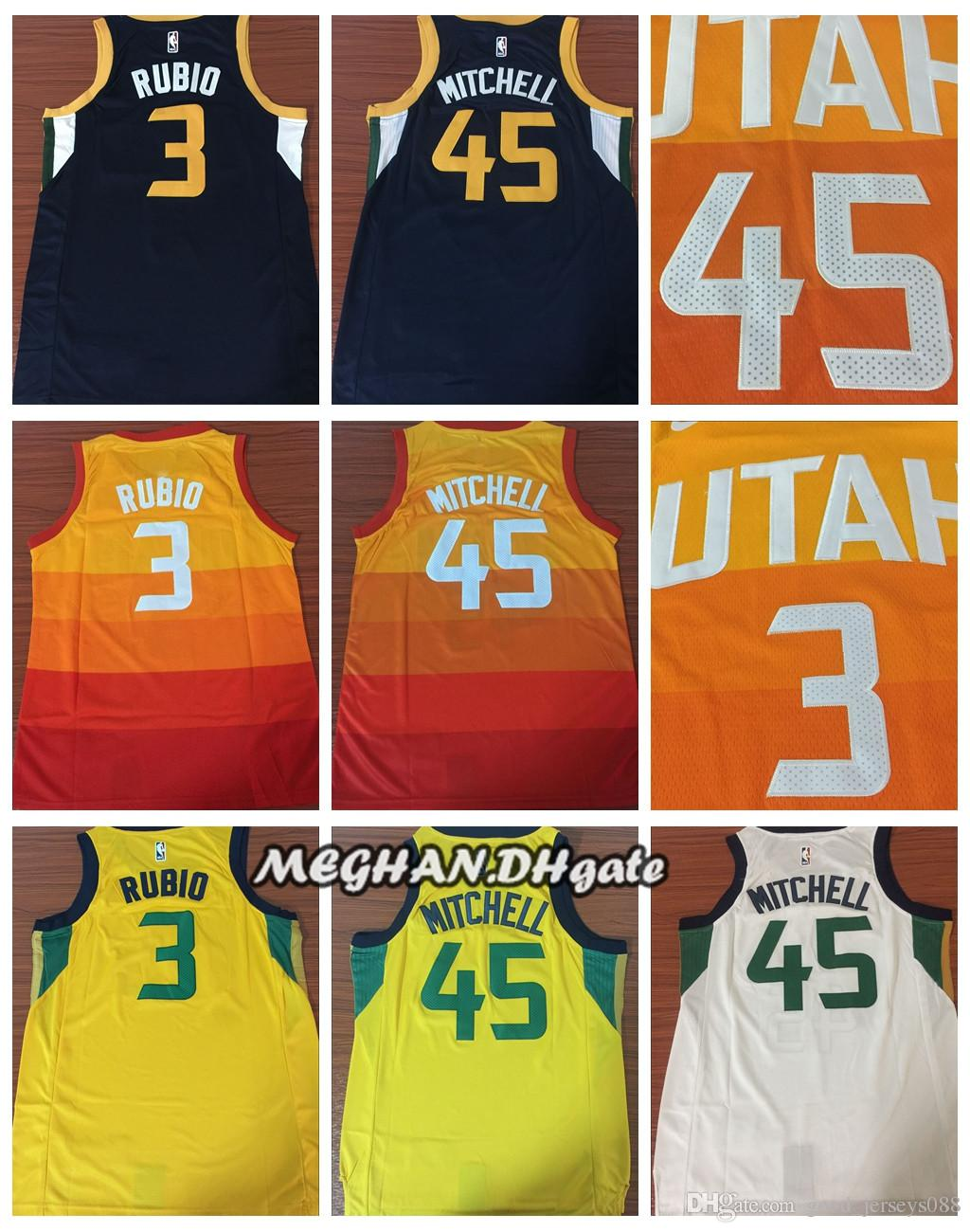 huge discount b7f25 59fbb Utah Edition City 5 Donovan Mitchell Jerseys 3 Ricky Rubio White Blue  Yellow Gold Shirts 27 Rudy Gobert Embroidery Stitched Jerseys