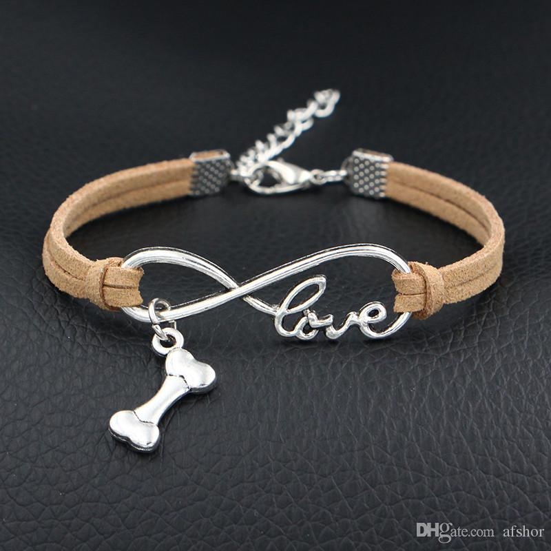 2018 Antique Silver Plated Infinity Love Dog Bone Pan Charm Bracelet Beige Leather Rope Bracelet Bangle for Women Men Jewelry Gift Wholesale