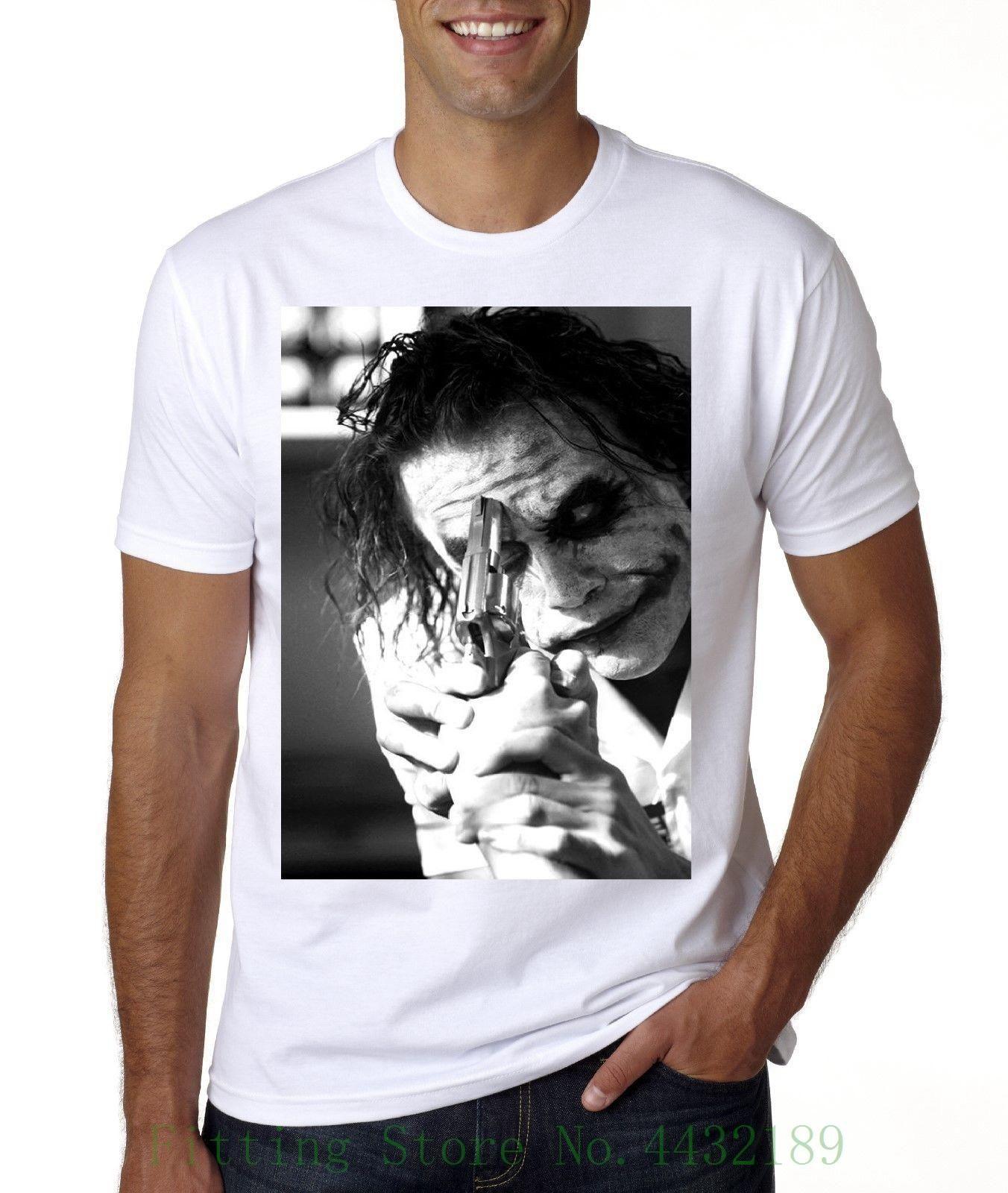 497f8720 Joker Heath Ledger Gun T Shirt Sizes From Med 3xl Cotton Casual Shirt White  Top Humor T Shirts Funky T Shirt From Yubin05, $14.15  DHgate.Com