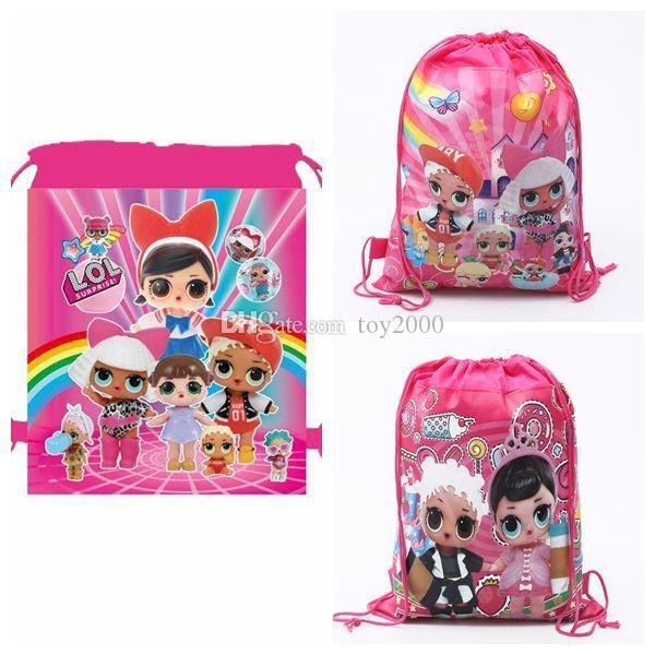 3 Styles 34*27cm Cartoon LOL Surprise Doll Backpack Kids Surprise Doll Shoulder Bag Theme Party Backpack Cartoon School Bags CCA11379 300pcs