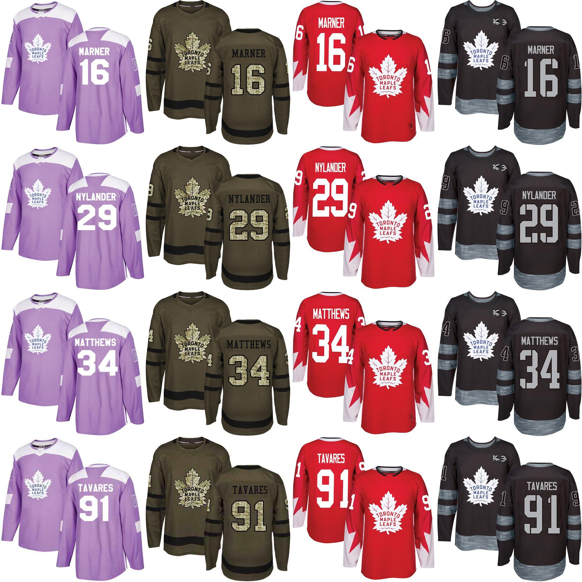 free shipping ccddd d2952 91 Tavares Blank 29 William Nylander 16 Mitch Marner 34 Matthews Toronto  Maple Leafs Hockey Jersey Salute to Service Fights Cancer Red