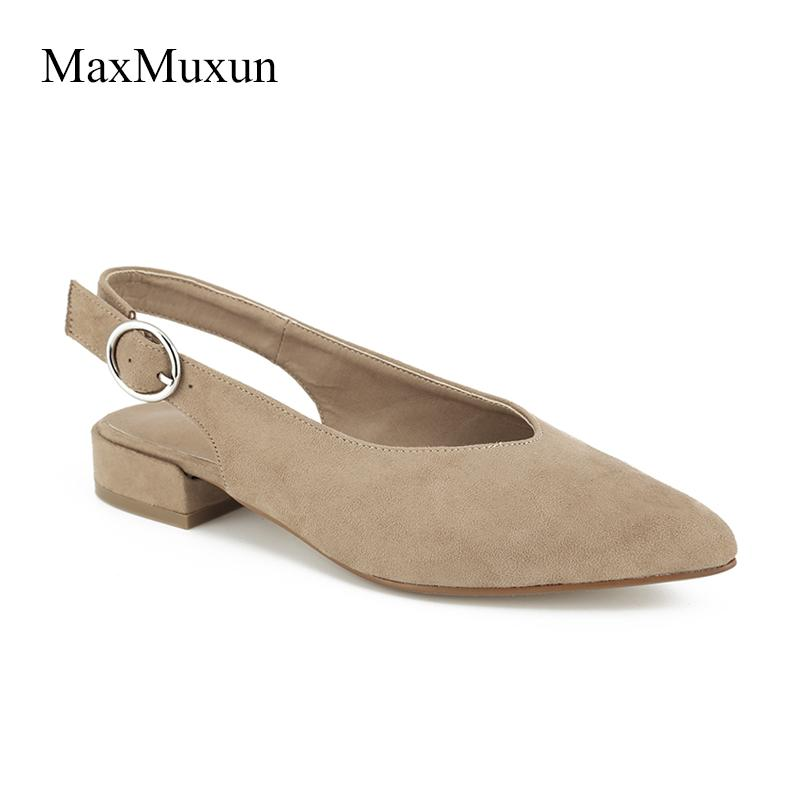 63e54fa82dbfd MaxMuxun Women Sexy Slingback Pointed Toe Pumps 2018 Gladiator Buckle Low  Block Heels Ladies Black Faux Suede Dress Court Shoes Mens Shoes Loafers  From ...