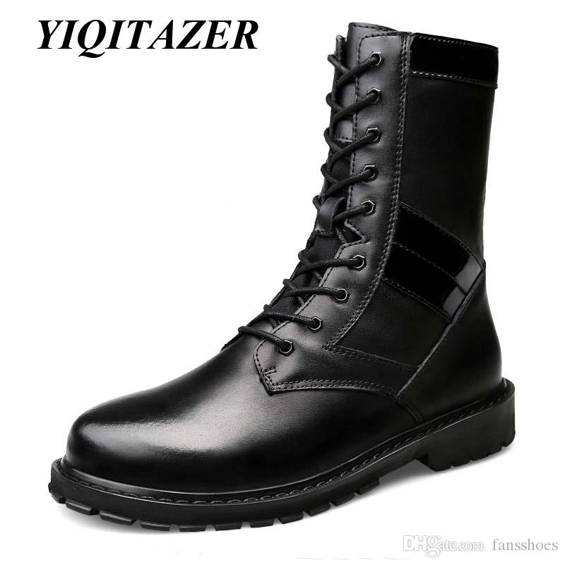 YIQITAZER 2018 Winter Fur Man Snow Amry Boots Zapatos, Lana Dentro Geniune Leather Mens Shoes Militar Boots Negro Plus 48 49 50 # 353516