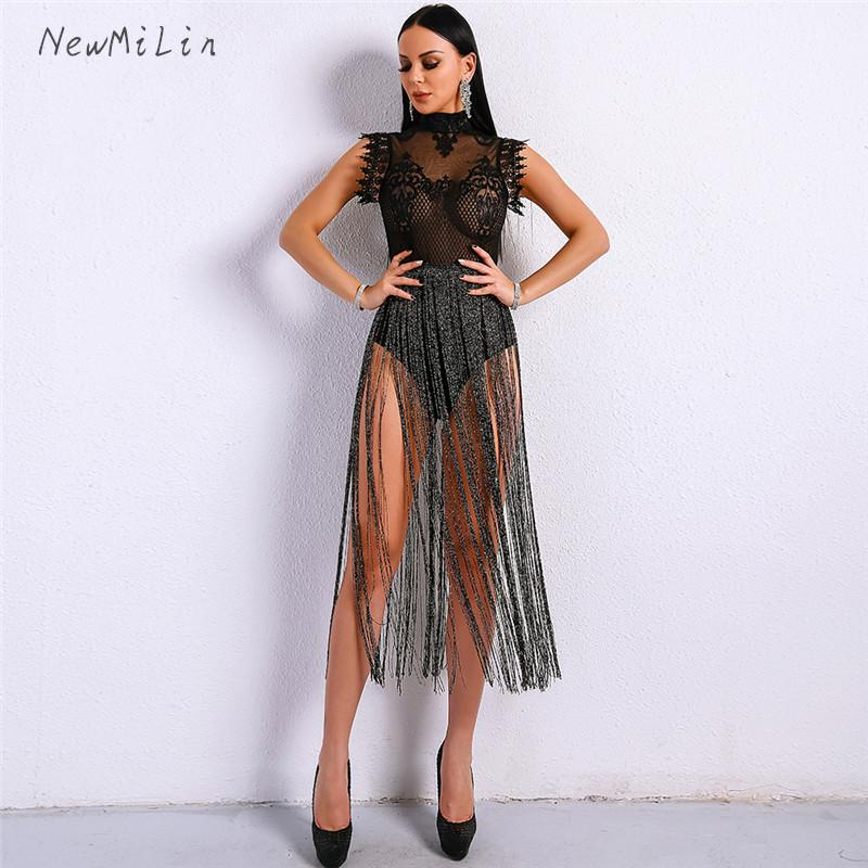63507b6a0749 2019 Bandage Bodycon Tassel Turtleneck Playsuits Jumpsuits Sexy ...