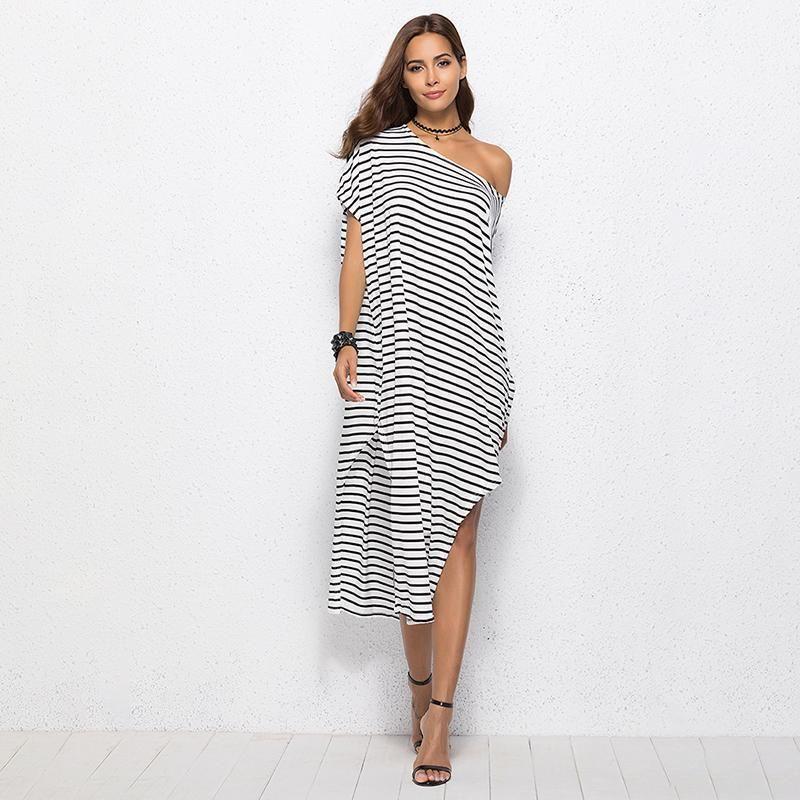 Summer Women Dress White Striped Long Shirt Dress Casual Irregular