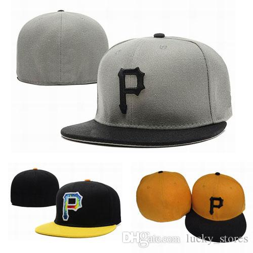 New Fashion Letter P tampão cabido Chapéus Homens Pittsburgh plana Brim Bordados grife Sports Ventiladores da equipe completa Closed Chapeu Baseball Caps