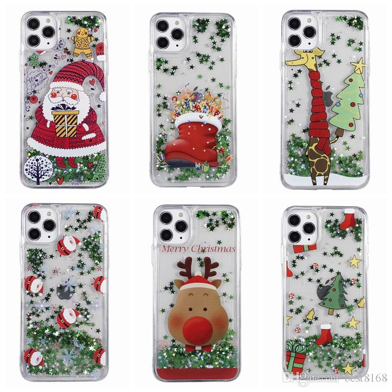 Merry Christmas Liquid Soft TPU Case For Iphone 11 Pro Max Samsung Note 10 Pro S10 S10E Snow Tree Socks Santa Claus Quicksand Luxury Cover