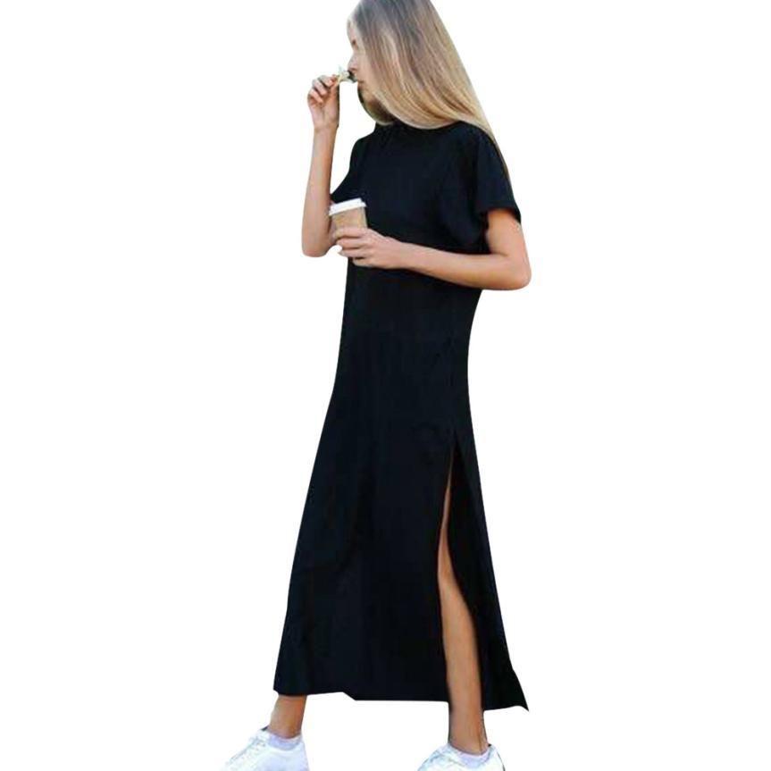 522a7aed9b3 Acheter Robe D été Femmes Sexy Côté Haute Fente Noire Manches Courtes Robe  Noire Robes Longues Style Décontracté  L De  27.02 Du Illusory10