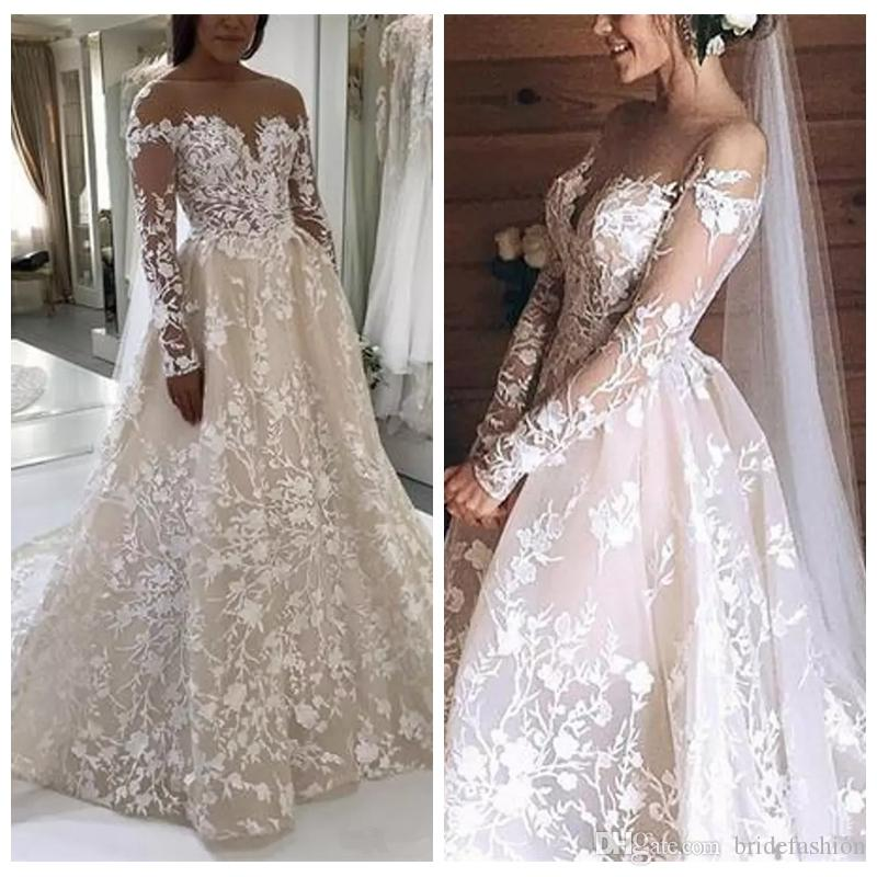 5ad18506 Charming Luxury Wedding Dresses Ivory Lace Ball Nude Tulle Neckline Long  Sleeves Champagne Court Train Wedding Gowns Formal Ball Gowns Funky Wedding  Dresses ...
