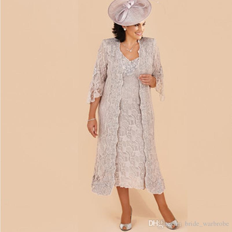 Lace Mother Of The Bride Dresses two pieces 3/4 sleeves Suit Formal Wedding Party Dresses Long Jacket V-Neck Tea Length Plus Size Vintage
