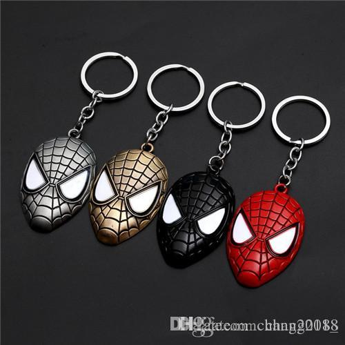 17 styles Marvel Avengers Spiderman Mask Keychain Cartoon Figure Superhero Spider Man Pendant Key Chain Key Ring Trinket Gift jssl001