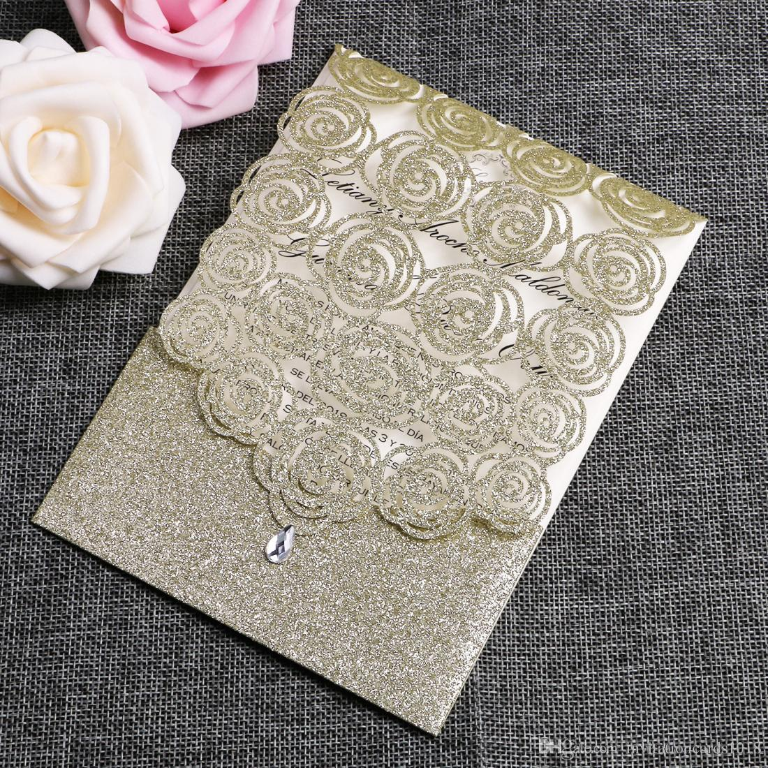 2018 Champagne Golden Glitter Wedding Invitations Cards Hollow Flora Cardstock For Bridal Shower Engagement Birthday Invites