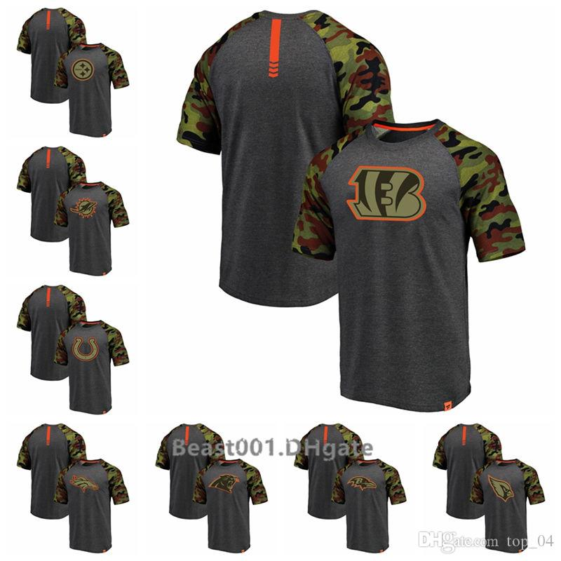 promo code 19f03 fa0cc Pro Line by Fanatics Branded Steelers Dolphins Colts Broncos Bengals  Panthers Ravens Cardinals Heathered Gray Camo Recon Camo Raglan T-Shirt