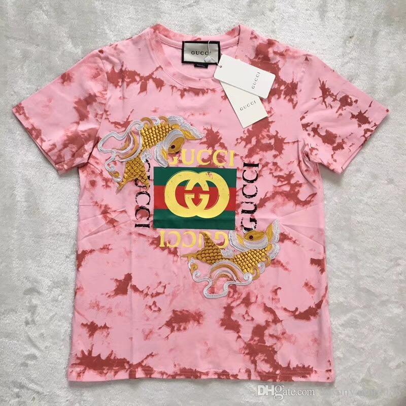 e7c690bd4 2019 HOT Original Genuine European American GG Cotton Short Sleeve Shirts  Summer Casual Fashion Gucci Women'S Short Sleeved T Shirt A T Shirts Fun T  Shirts ...