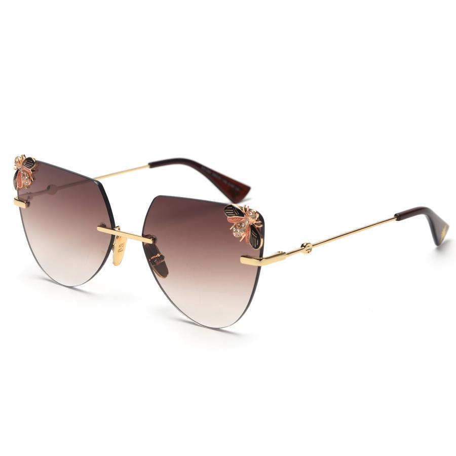 f560e67f0c6 Wholesale Cat Eye Rimless Sunglasses Women Bee Side Cut Sun Glasses Grace  Vintage Fashion Female Eyeglasses Lady Shades Oculos Cheap Eyeglasses  Online ...