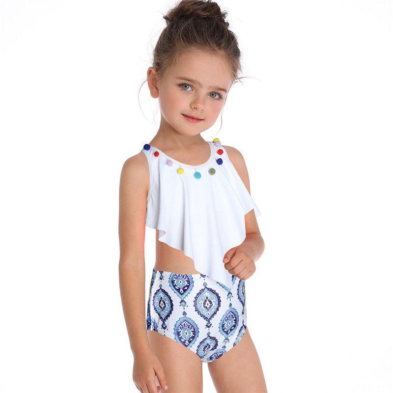 68555175b6 2019 New Flower Printing Falbala Swimsuit Girls Bikini Kids Swimwear  Children Floral Bathing Suit Baby Girls Toddler Swimming Suit 2-6 Years