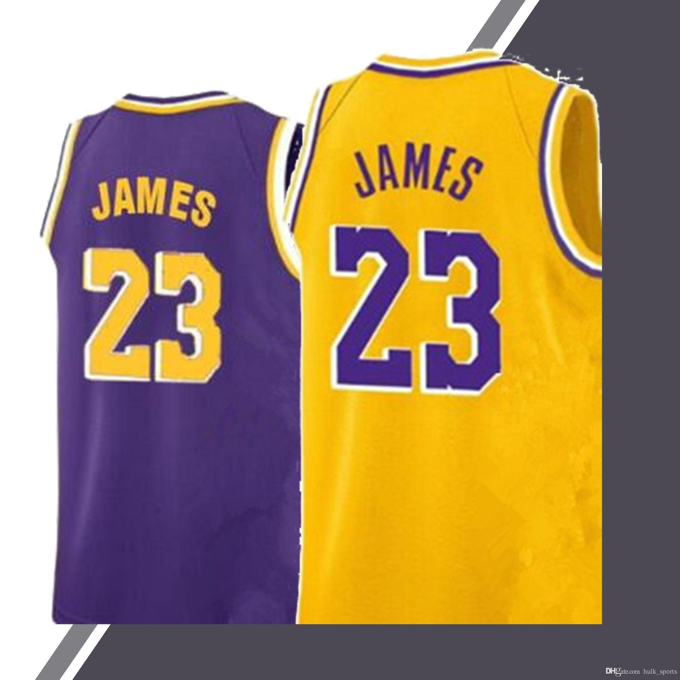 100% authentic f836e 2e383 23 LeBron James Los Angeles jersey Laker 24 Bryant 0 Kuzma 2 Ball Hot sale  2019 menbasketball jerseys