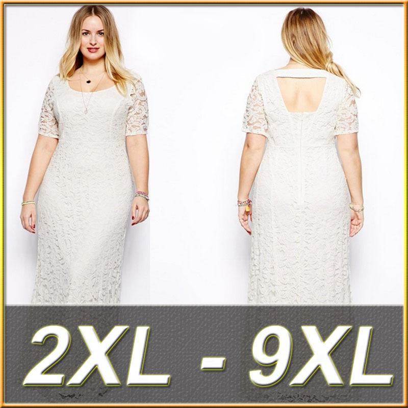Women Plus Size Lace Dresses Short Sleeves Long Party Evening Gown Oversize  Dresses 2XL -- 9XL