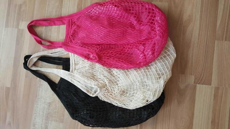 Yeniden kullanılabilir Alışveriş Bakkal Çanta Büyük Beden Shopper Bez Mesh Net Dokuma Pamuk Çanta Taşınabilir Alışveriş Çantaları Saklama Çantası T2I5762