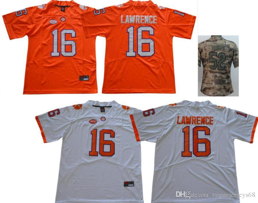 New Womens Clemson Tigers  16 Trevor Lawrence Chicago Salute To Service 52  Khalil Mack Stitched Embroidery American Football Shirts Jerseys UK 2019  From ... a07446646